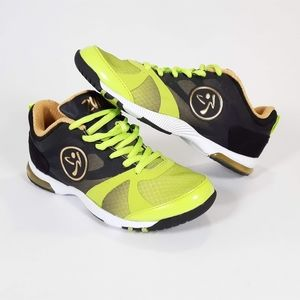Zumba Shoes Neon Green and Gold Size 5